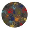 hand print grey round kids rug