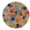 hand print ivory round kids rug