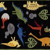dinosaur black kids rug
