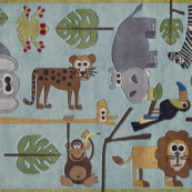 safari blue kids rug