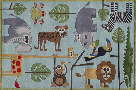 safari blue kids rug
