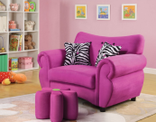 lily kids loveseat chair in pink microfiber