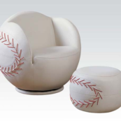 baseball kids chair with ottoman