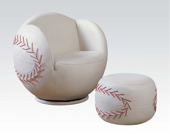 baseball kids chair with ottoman