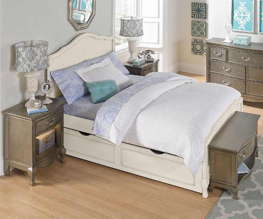 alexandria panel bed in antique white