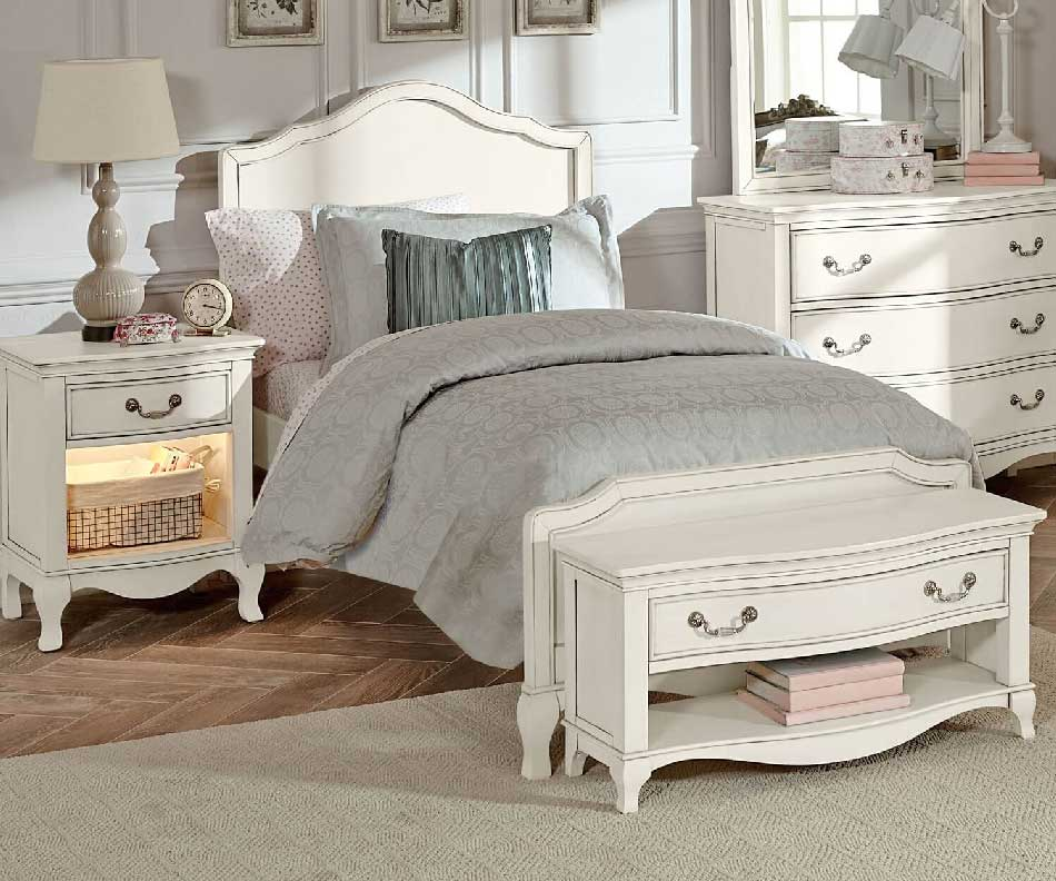 Powell White Twin Bedroom In A Box: Alexandria Panel Bed In Antique White