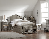 alexandria twin panel bed with drawers in antique silver