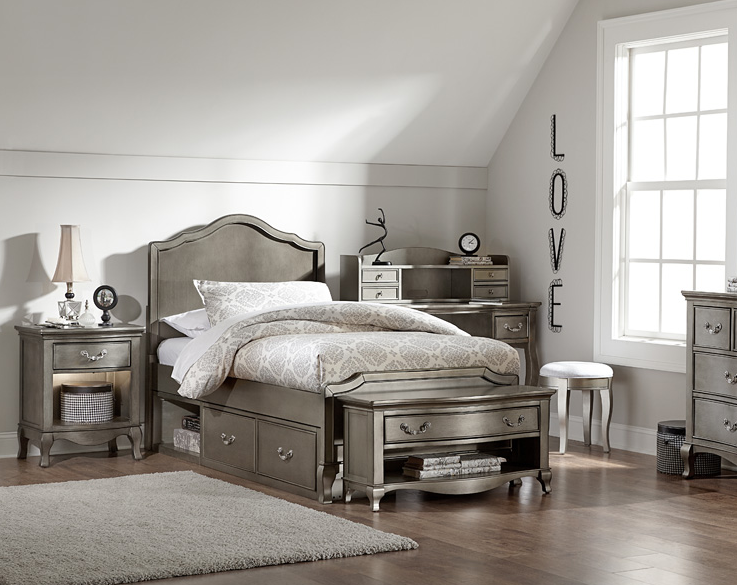 Alexandria Panel Bed in Antique Silver Kids Furniture In