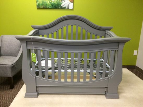baby appleseed davenport convertible crib in moon grey