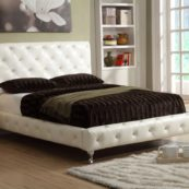bella espirit tufted leather platform bed with crystals in white