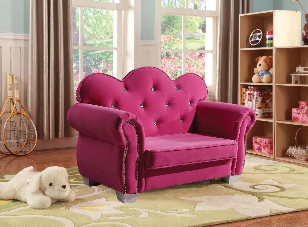 Celine Kids Loveseat Chair in Pink Fabric - Kids Furniture In Los ...