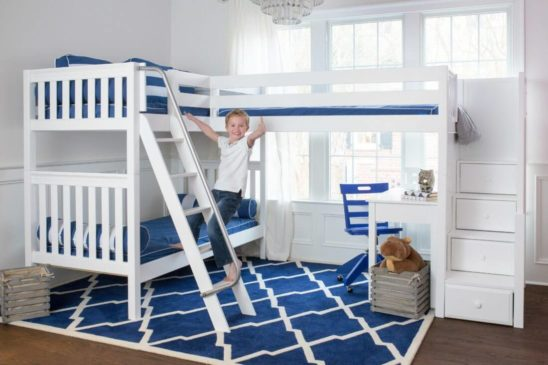 Maxtrix Corner Bunk with desks and blue chair white slatted with boy