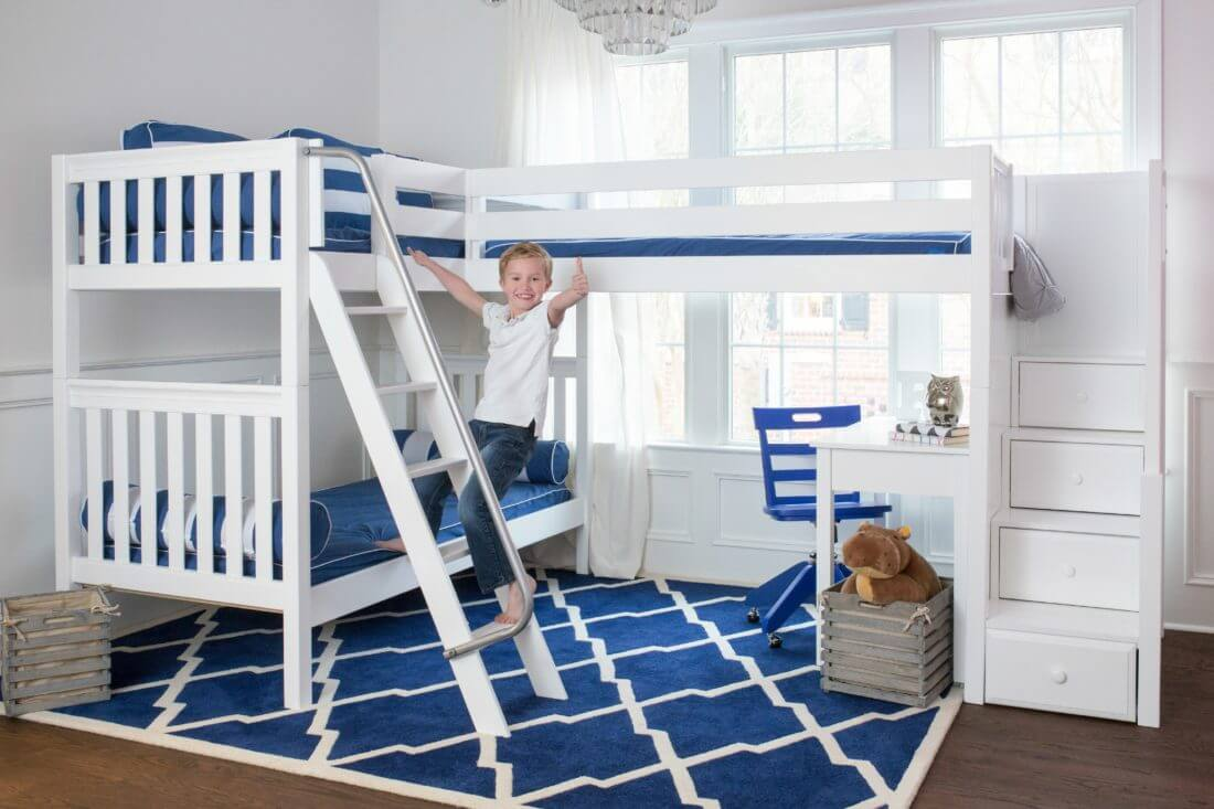 maxtrix corner bunk bed with stair loft addition kids furniture inmaxtrix corner bunk with desks and blue chair white slatted with boy