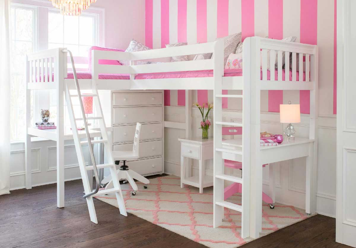Loft Bed For Girls With Desk: Kids Furniture In Los Angeles