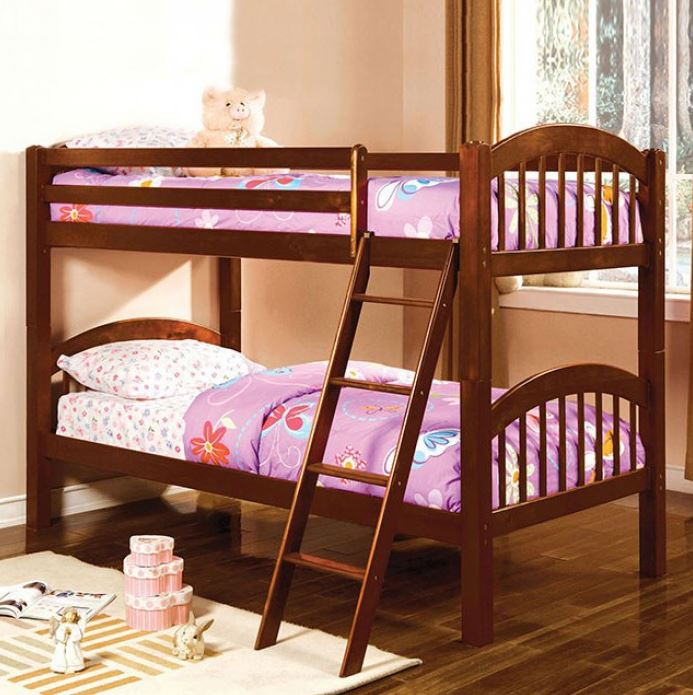 Tony Twin Over Twin Bunk Bed Gray White Black Cherry And Oak