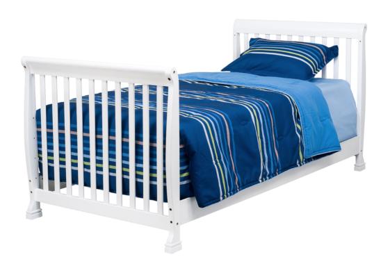 kalani mini crib in white converted to twin bed
