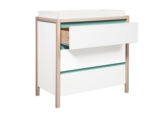babyletto bingo 3 drawer dresser changer side view