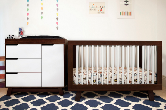 babyletto hudson crib and changer in two tone espresso