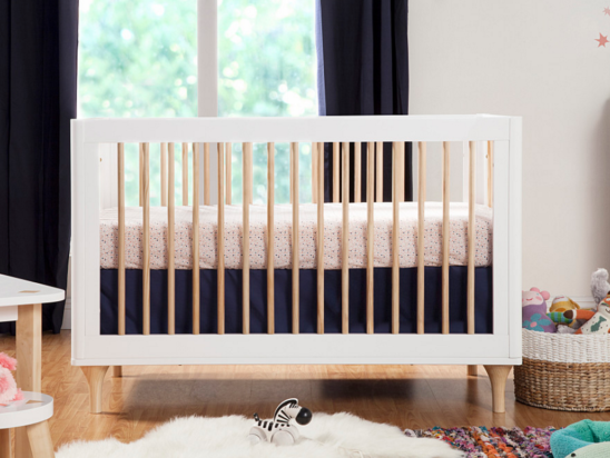babyletto lolly crib in two tone white with natural