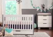 babyletto mercer crib and changer in two tone gray and white