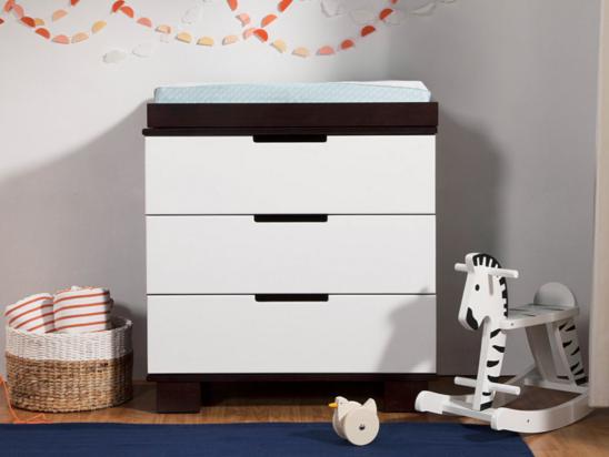 babyletto modo 3 drawre dresser changer in espresso and white