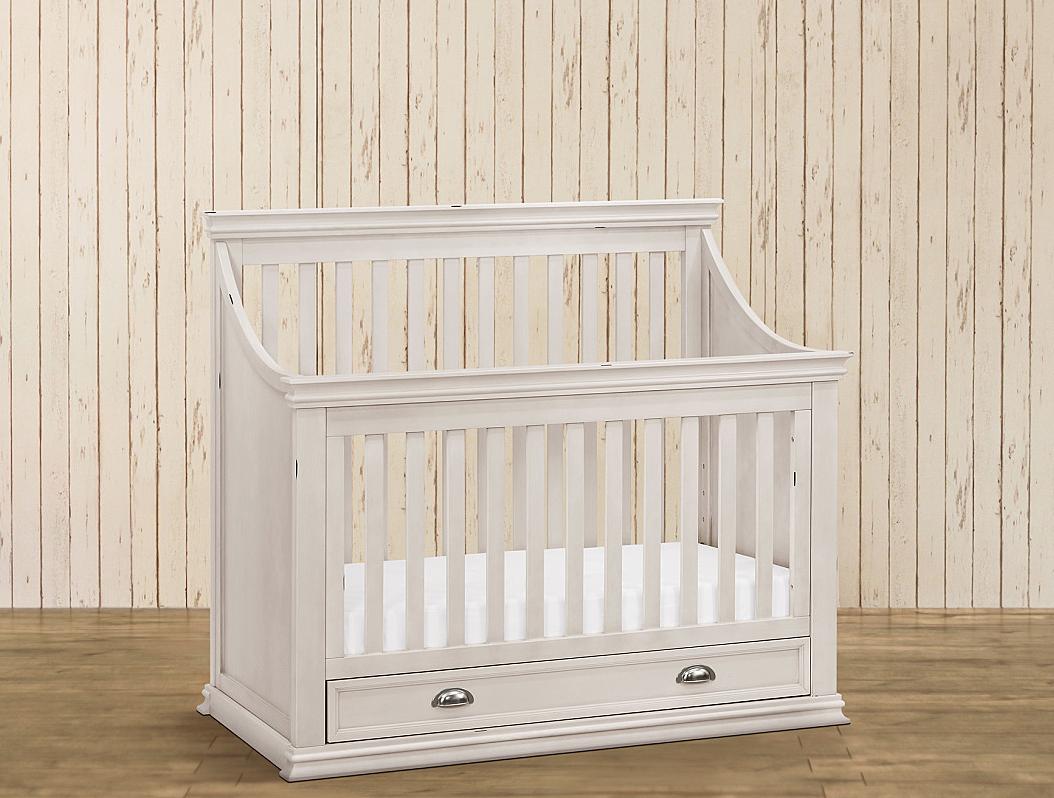 white convertible crib with drawer