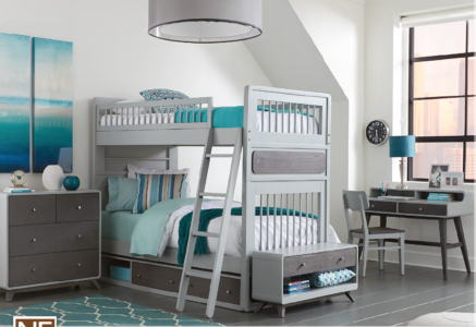 Easton Twin over Twin Bunk Bed in Grey