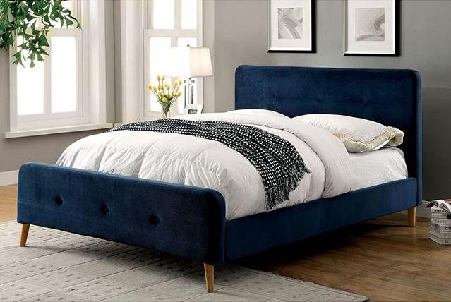 Navy Blue Bedside Table: Full Size Navy Blue Upholstered Platform Bed