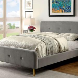 full size grey microfiber upholstered platform bed