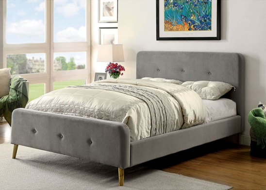 full size grey microfiber upholstered platform bed