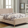 contempo upholstered modern bed in beige