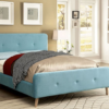 contempo upholstered modern bed in light blue