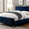 contempo upholstered modern bed in navy