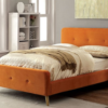 contempo upholstered modern bed in orange