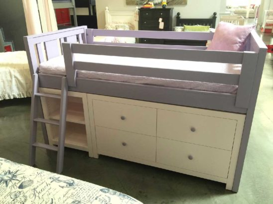 milano junior loft bed with dresser and bookshelf