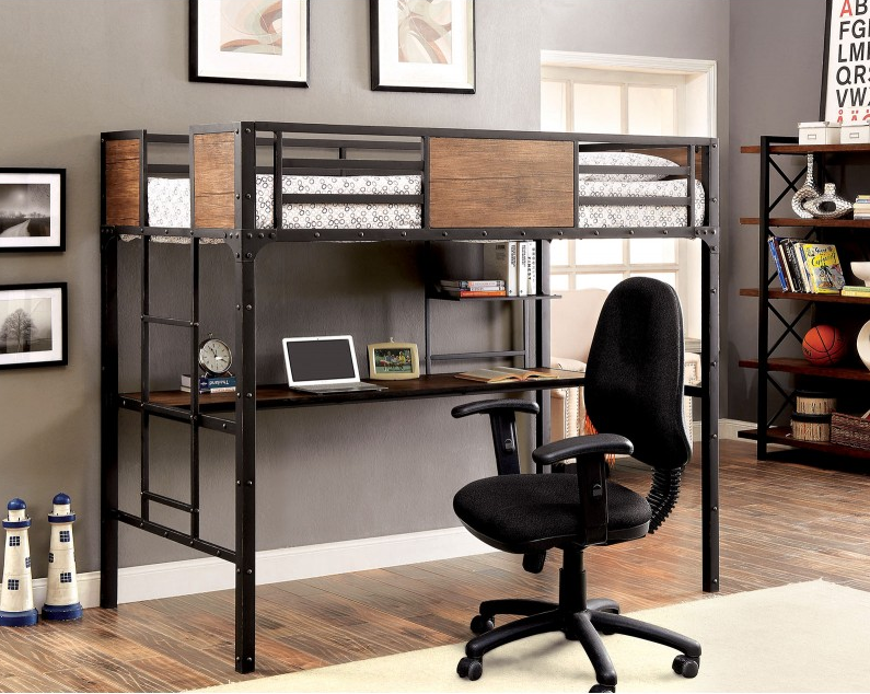 Industrial Twin Metal Loft Bed With Workstation