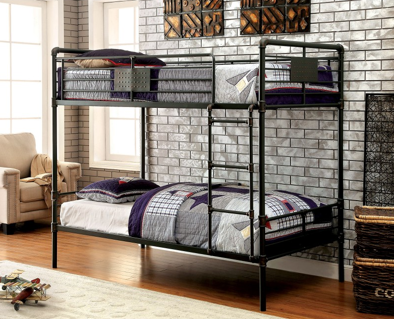 london industrial twin twin bunk bed in antique black kids furniture in los angeles. Black Bedroom Furniture Sets. Home Design Ideas