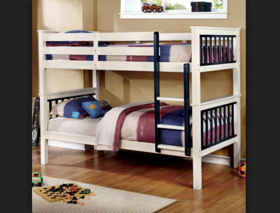 colton twin over twin bunk bed in white and blue