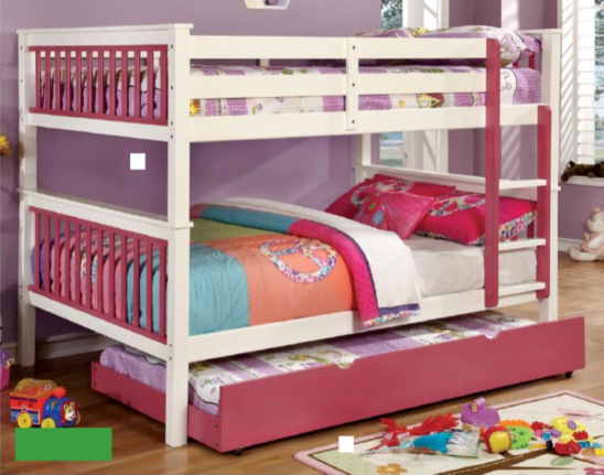 colton twin over twin bunk bed in white and pink