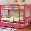 elliott twin over twin bunk bed in pink