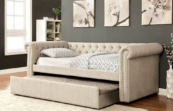 Chersterfiled Twin daybed with trundle in Beige