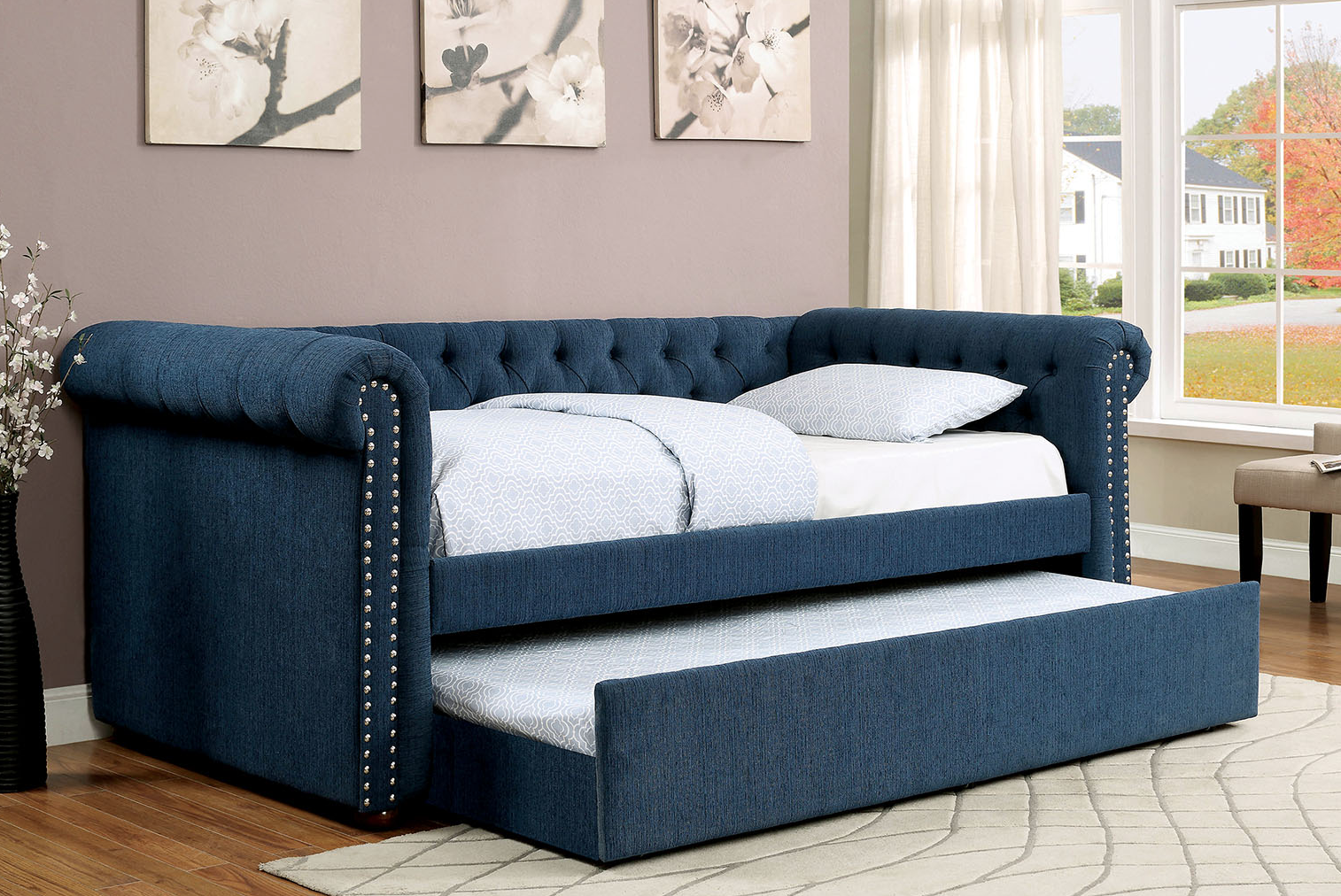 Chesterfield Tufted Daybed With Trundle In Dark Teal