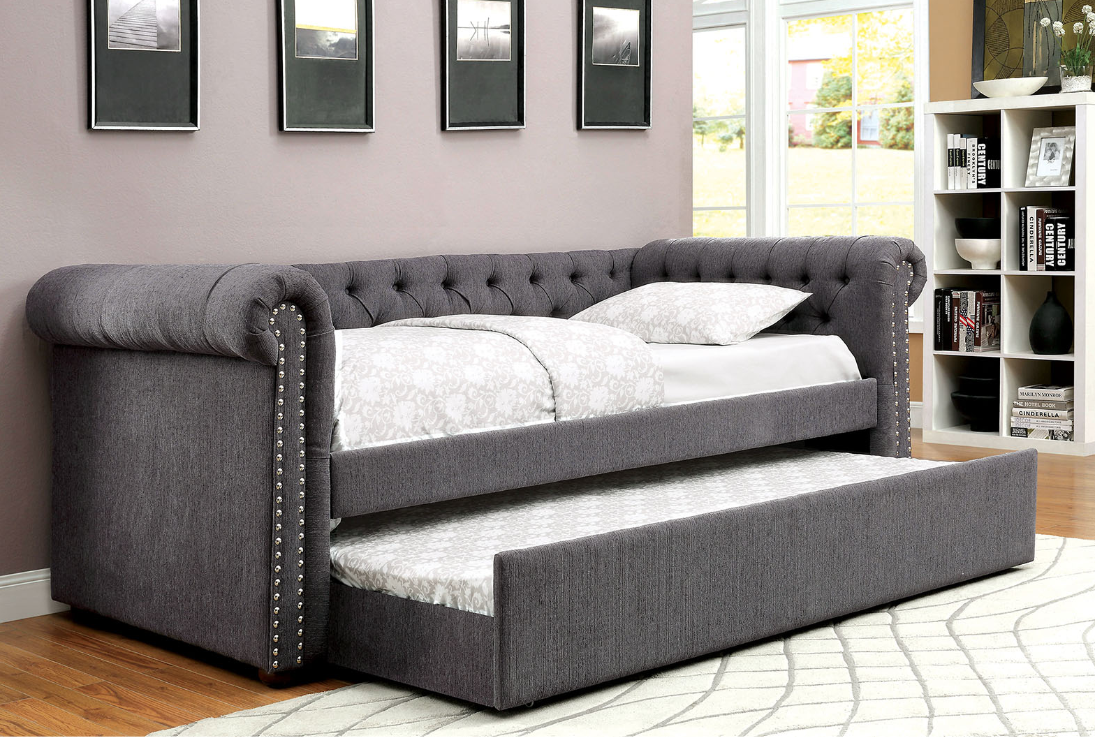 chesterfield tufted daybed with trundle in gray