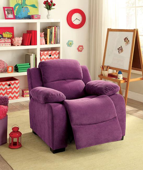 alen kids recliner in dark purple