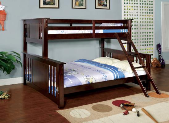crestline twin xl over queen bunk bed in espresso
