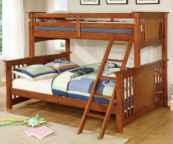 crestline twin xl over queen bunk bed in oak