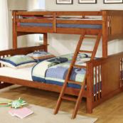 crestline twin xl over queen bunk bed in oak