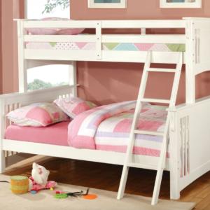 crestline twin xl over queen bunk bed in white