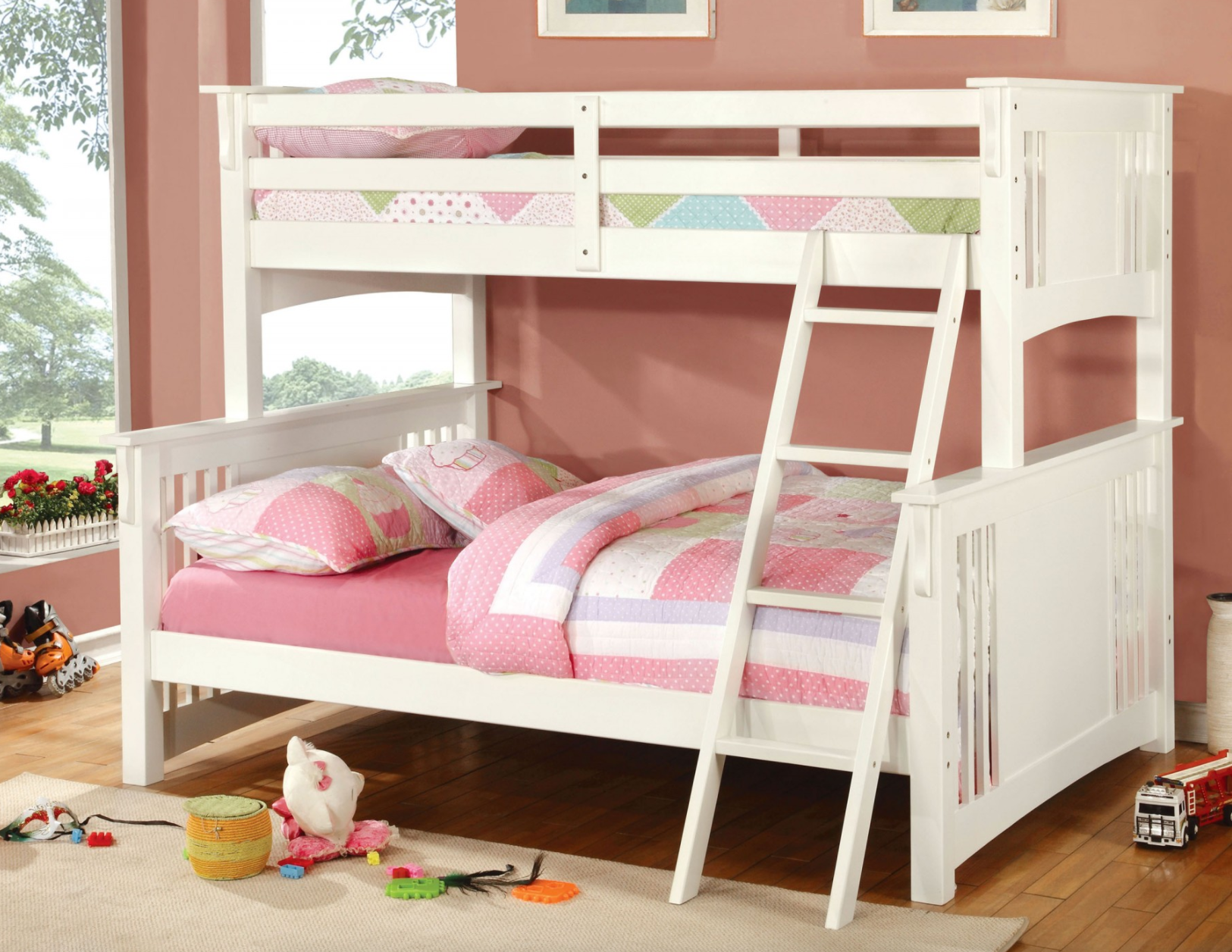 Crestline Twin Xl Over Queen Bunk Bed In White Kids Furniture In