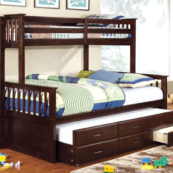 harvard twin xl over queen bunk bed with trundle and drawers in espresso